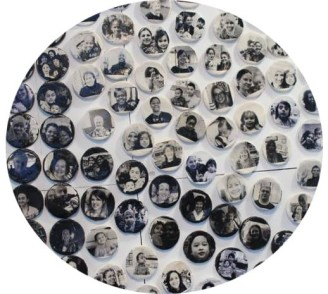 International Women's Day project 2014 - Detail of a huge CND symbol made of approximately 500 ceramic discs, each disk was made by a member of the community, (in Curious Crafty workshops in about 30 community hubs all over Manchester) each disc is also a portrait of the person who made it. The theme of International women's day in 2014 was women as peacemakers.