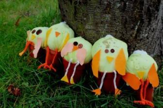 Spring chicks in plant pots