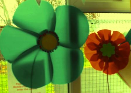 Giant Flowers to put in the garden made at darley Avenue children's centre
