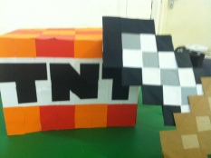 The first Minecraft workshop I did was at Central Libarary as part of the Manchester Day Parade the theme was GAME ON! Anything computer inspired, hence the Minecraft costume making.