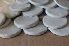 The makings of the discs for The International Women's day artwork 2014