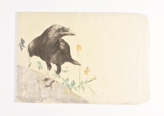 Raven on a wall - drawing on a large envelope