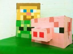 Minecraft Pig, Zombie and Steve masks