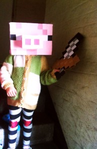 Minecraft sword and pig mask