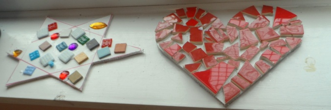 Mosaics made by children in Curious Crafty summer sessions