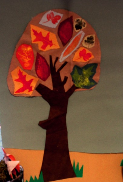 Large fabric and leaf printed collage made at Darley avenue Sure Start