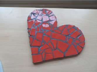 Beautiful heart mosaic made as part of summer activities at Darley Avenue Surestart.