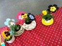 Pansies planted in vintage tea cups and flower decorations (Hate Crime awareness)