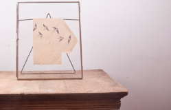 Swallows in Flight - drawing on old envelope in wire frame
